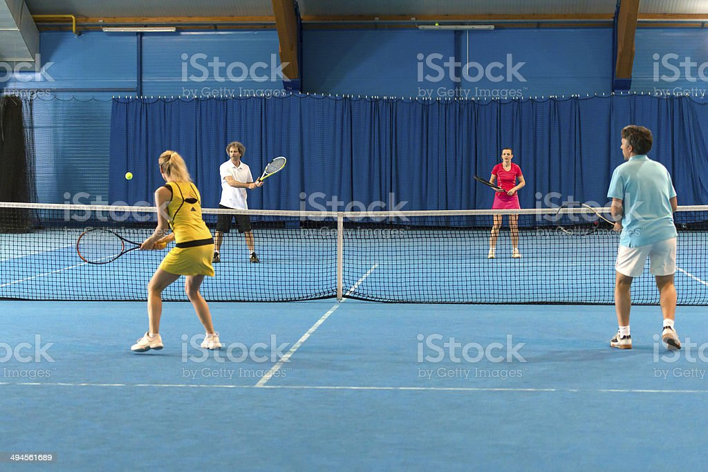 Mixed Doubles Match stock photo