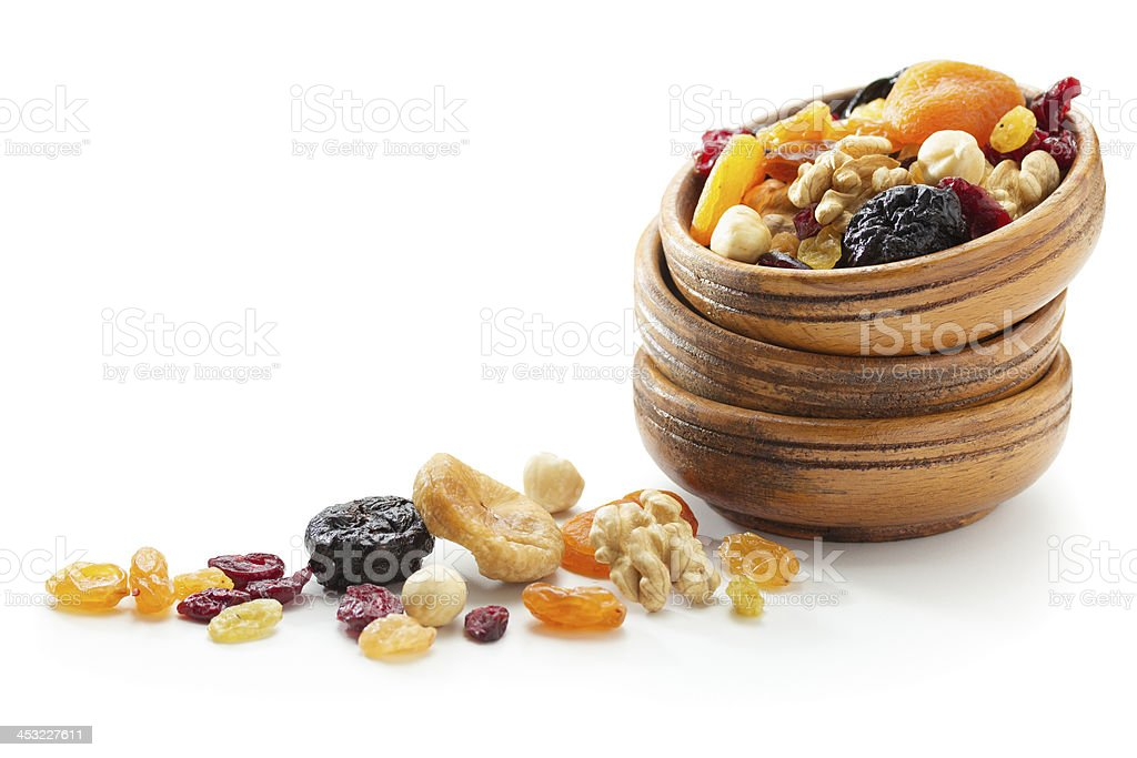 Mixed dried fruits and nuts stock photo