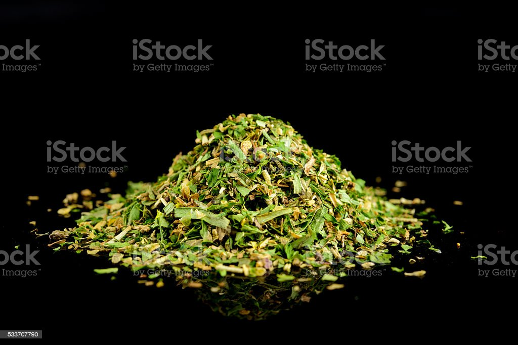 Mixed dried herbs with thyme, oregano, Basil, rosemary, parsley stock photo