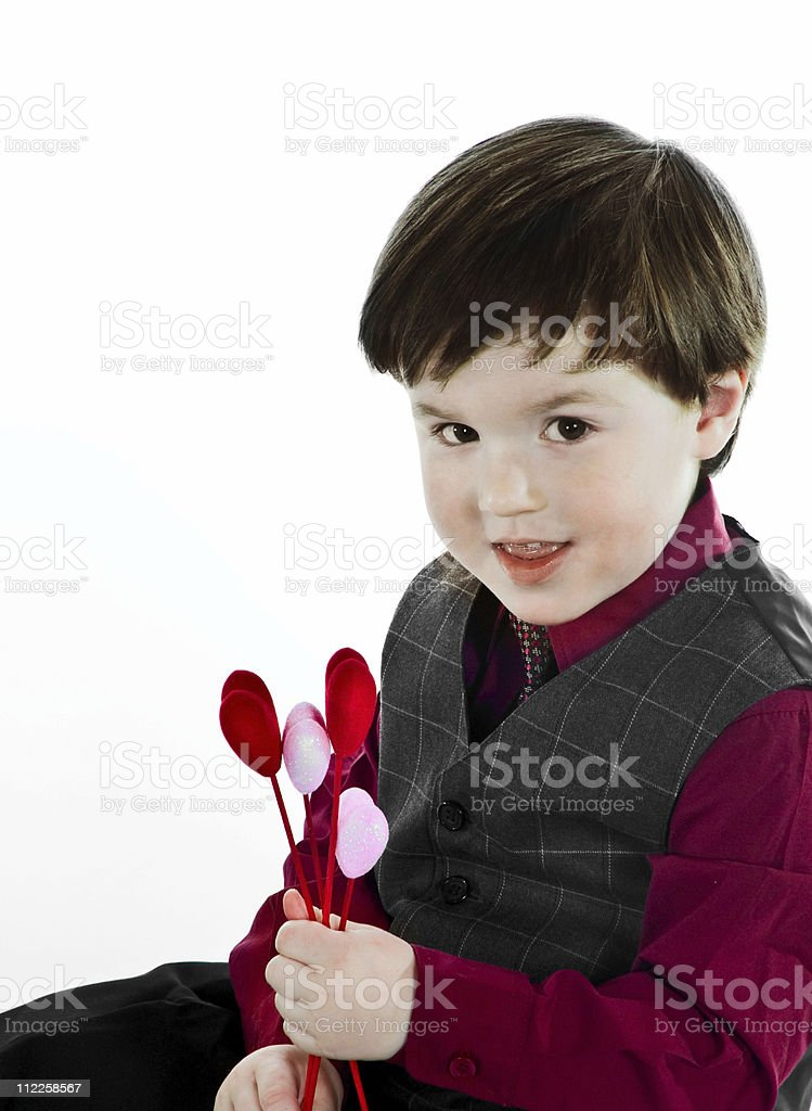 Mixed Ethnic toddler holding hearts for valentines day royalty-free stock photo
