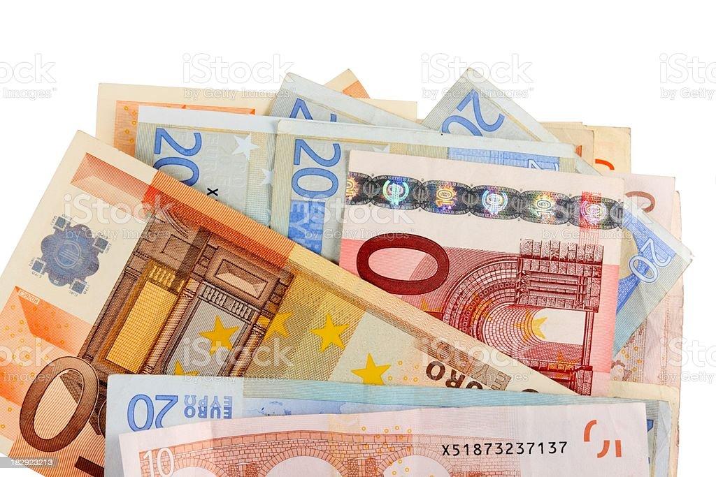 mixed european notes, isolated on white stock photo