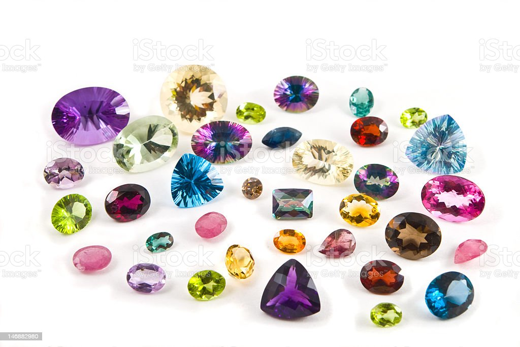 Mixed faceted gemstones royalty-free stock photo