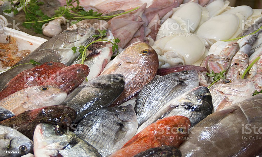 Mixed fish for sale on a market stock photo
