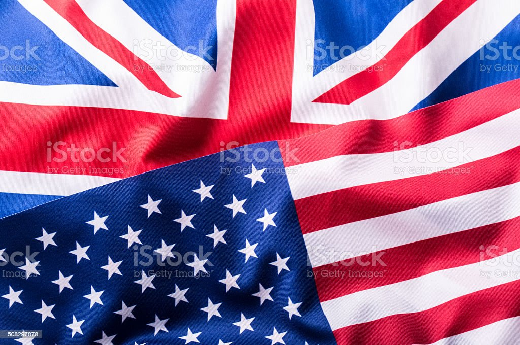 Mixed Flags of the USA and the UK.Union Jack flag stock photo