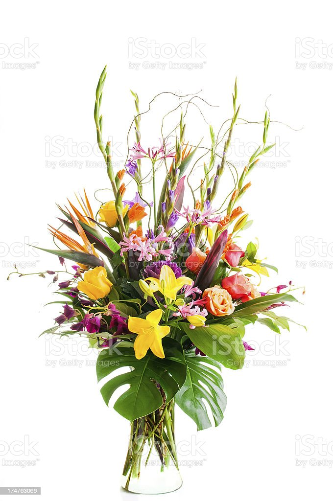 Mixed Flower Arrangement in Clear Vase stock photo