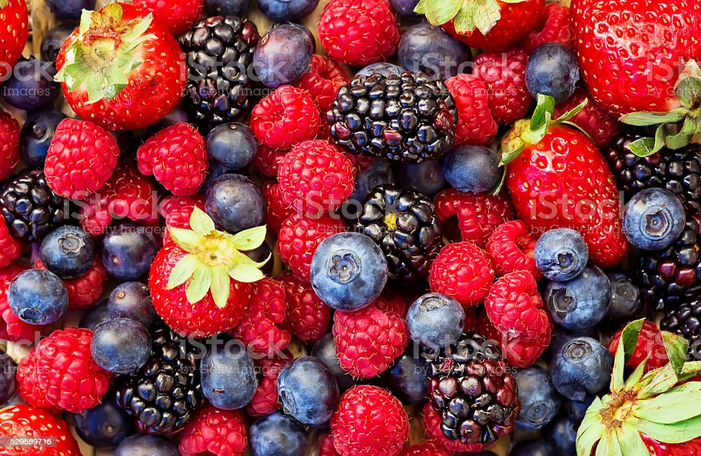 Mixed forest fruits stock photo