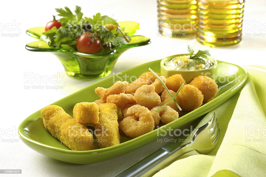 mixed fried seafoods stock photo