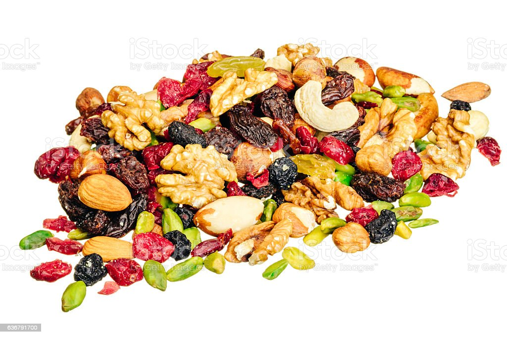 Mixed fruit and nuts, isolated on white stock photo