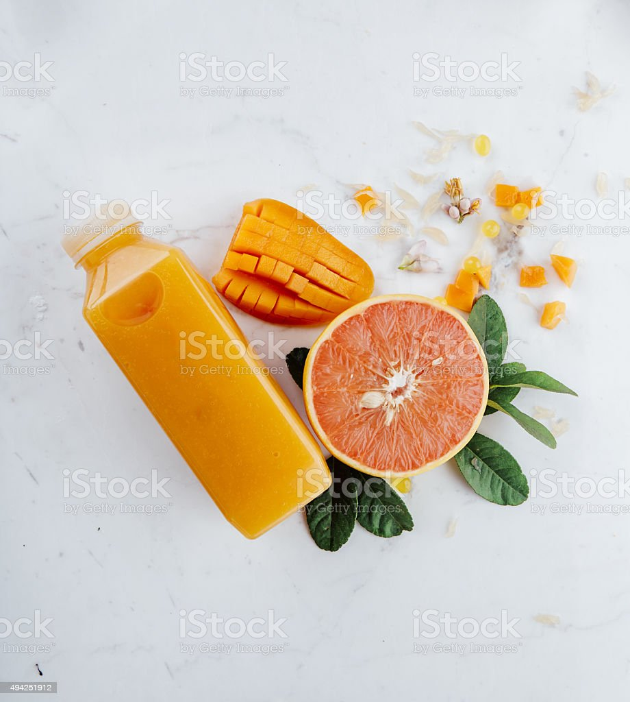 Mixed fruit juice and raw materials stock photo