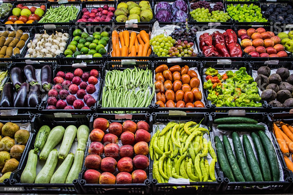 Mixed fruits and vegetables at organic fair stock photo