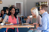 Mixed gender and diverse group of friends at a coffee