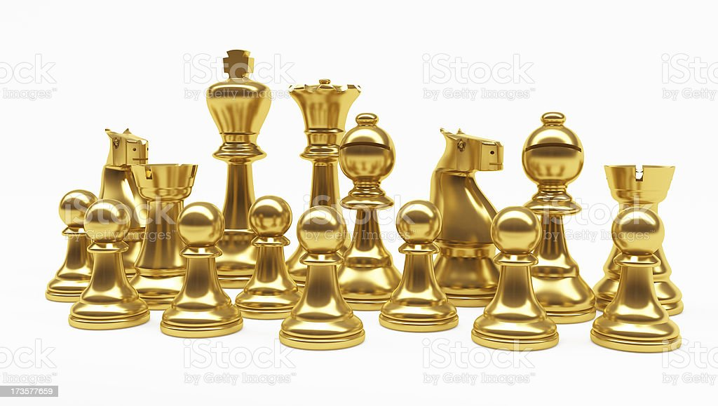 3D Mixed Gold Chess Pieces royalty-free stock photo