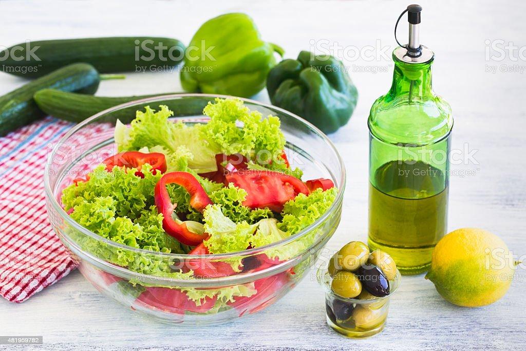 Mixed green salad. stock photo