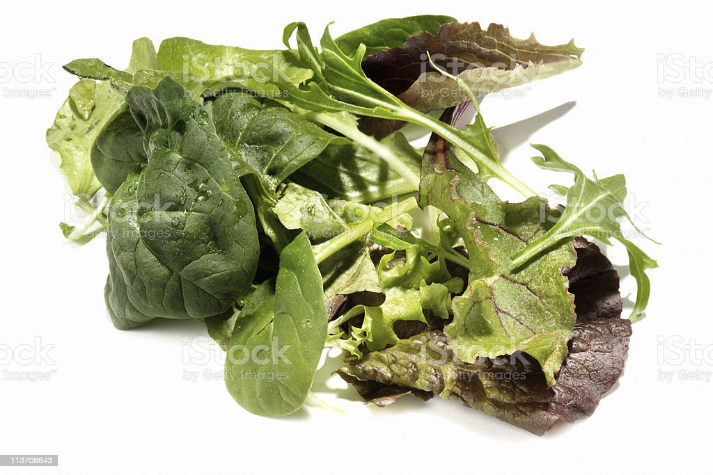 mixed greens cut out on white stock photo