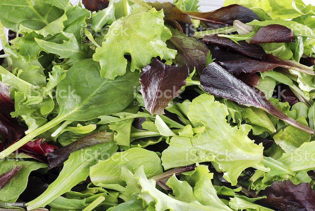 Mixed greens lettuce background stock photo