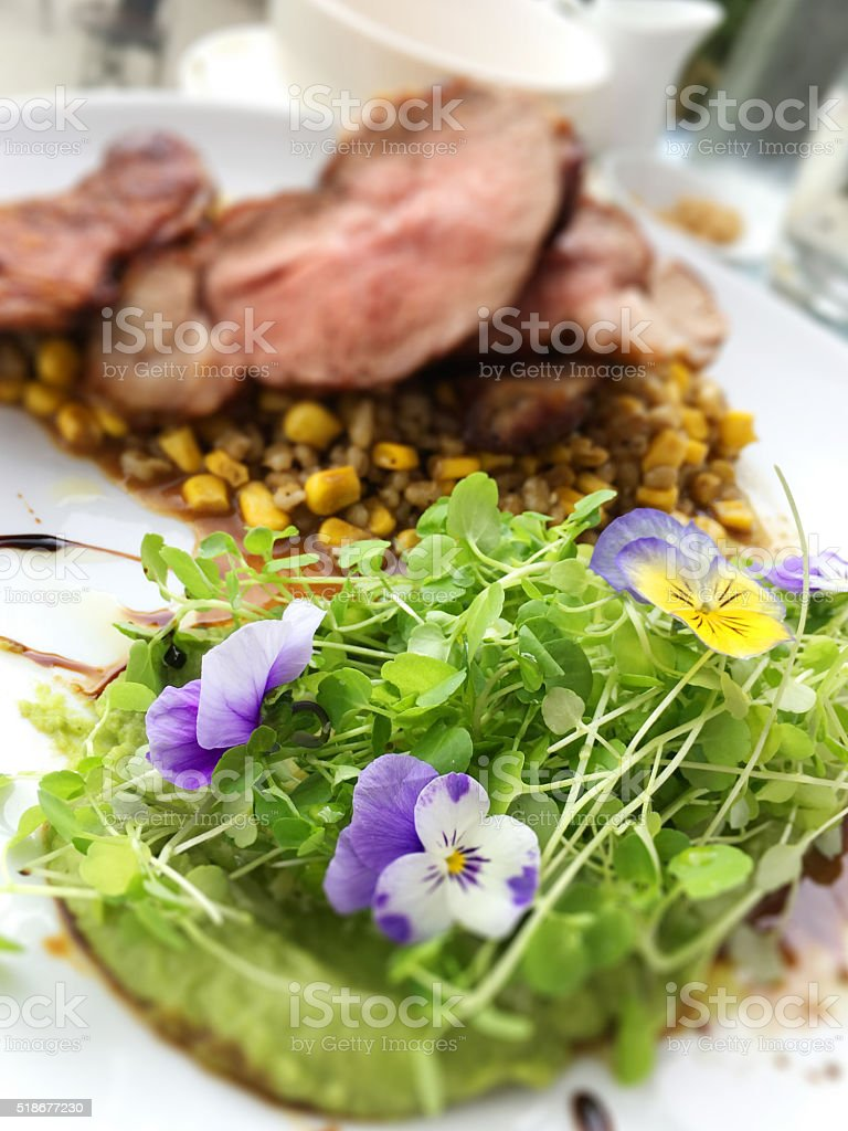 Mixed greens, sprouts, blue flowers, peas, steak, balsamic white plate stock photo