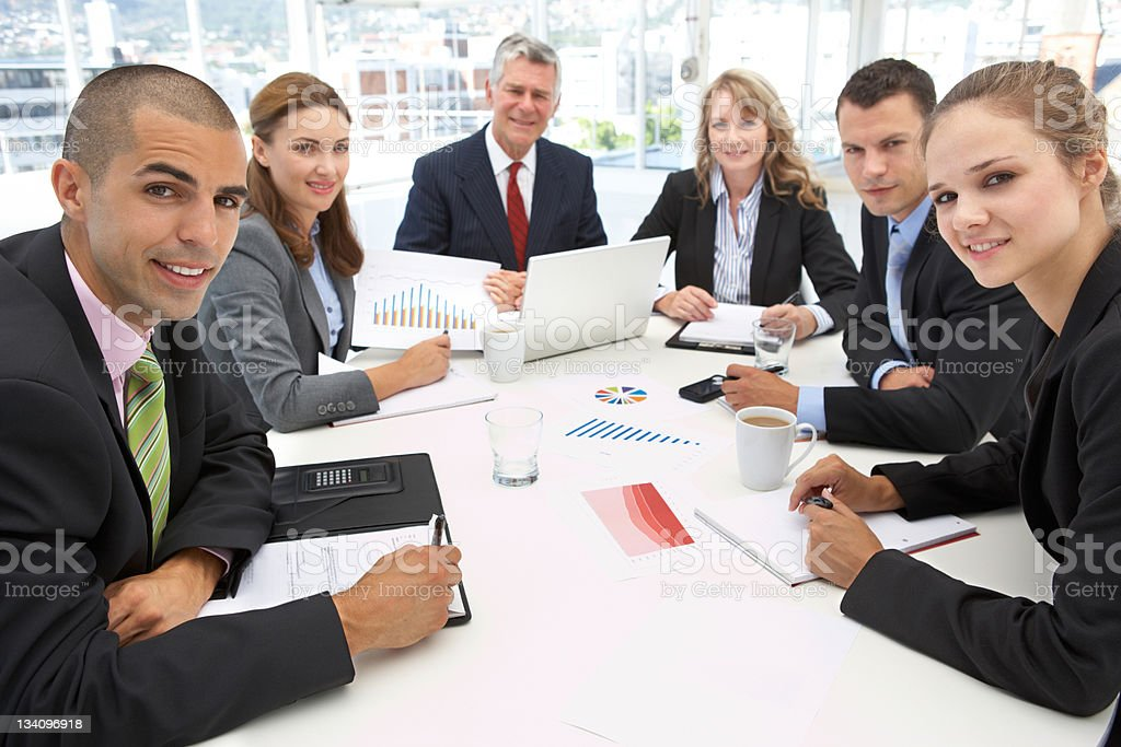 Mixed group in business meeting royalty-free stock photo