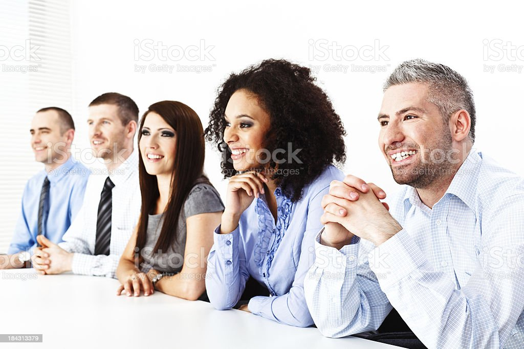 Mixed Group of Cheerful Business People stock photo