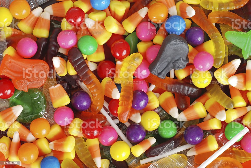 mixed halloween candy background royalty-free stock photo