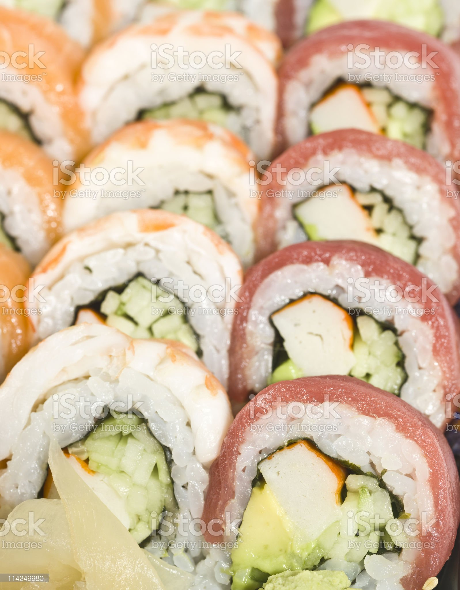 Mixed hand rolled sushi royalty-free stock photo