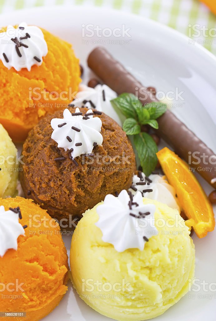 Mixed  Ice cream  on the plate royalty-free stock photo