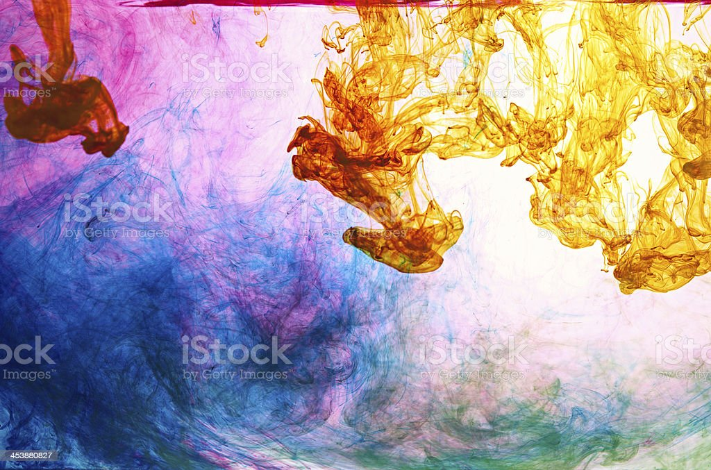 mixed ink in water stock photo