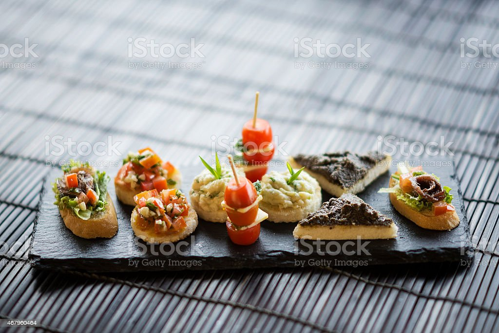 mixed international tapas platter stock photo