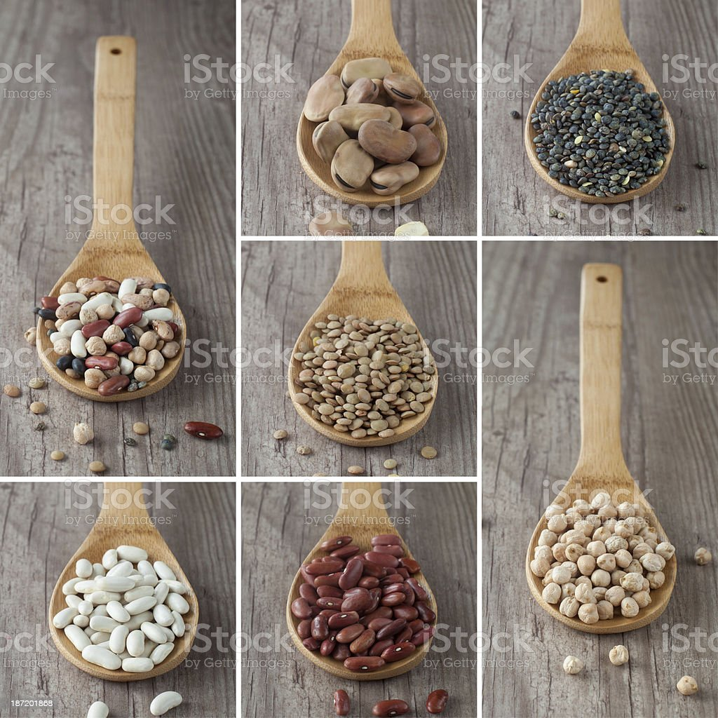 Mixed legumes collage royalty-free stock photo