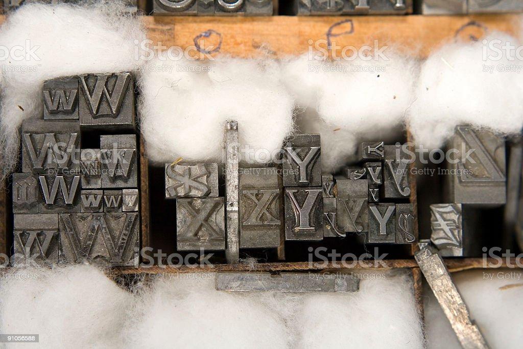 Mixed Letterpress Type Blocks stock photo