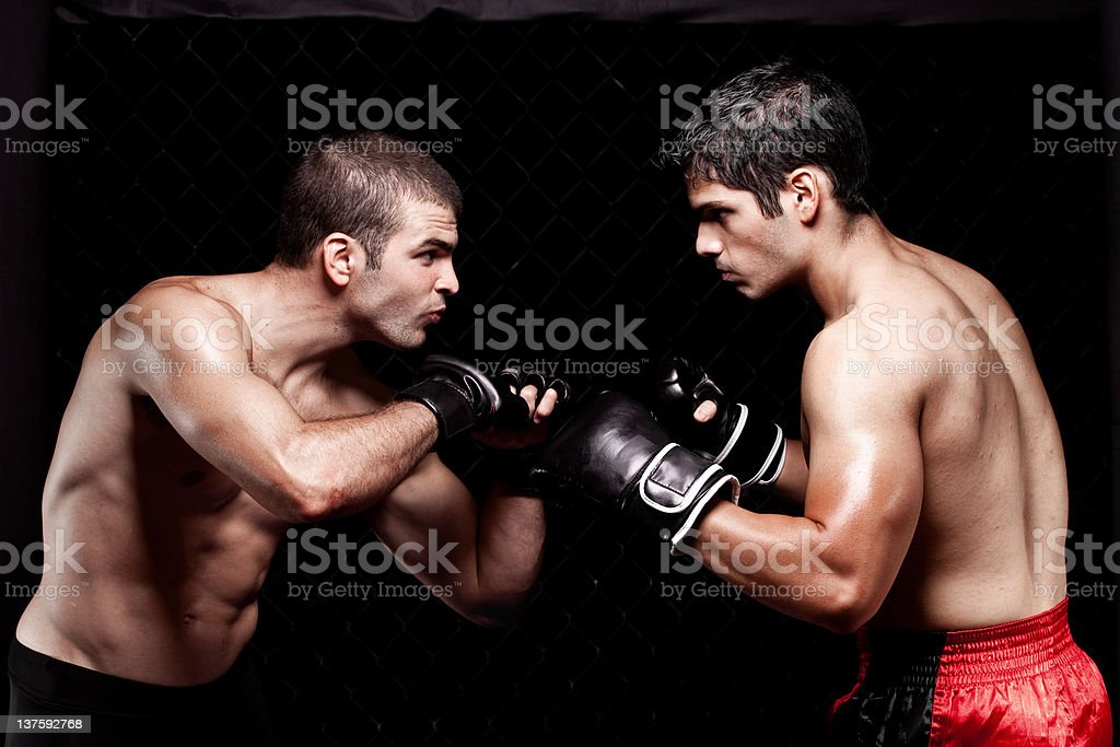 Mixed martial artists before a fight royalty-free stock photo