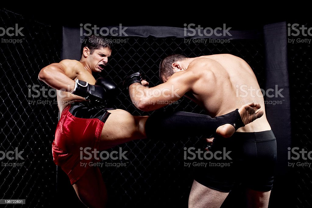 Mixed martial artists fighting - kicking stock photo