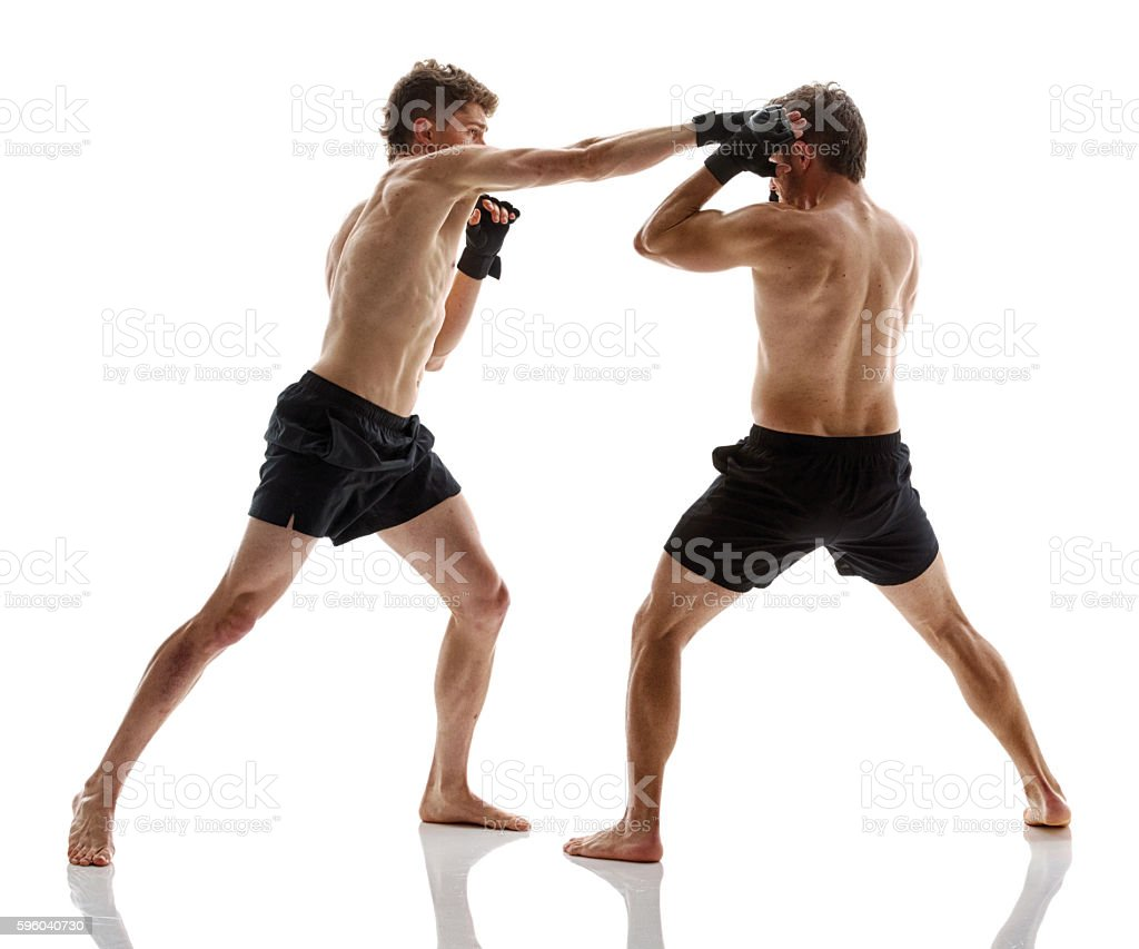 Mixed martial arts fighter fighting stock photo
