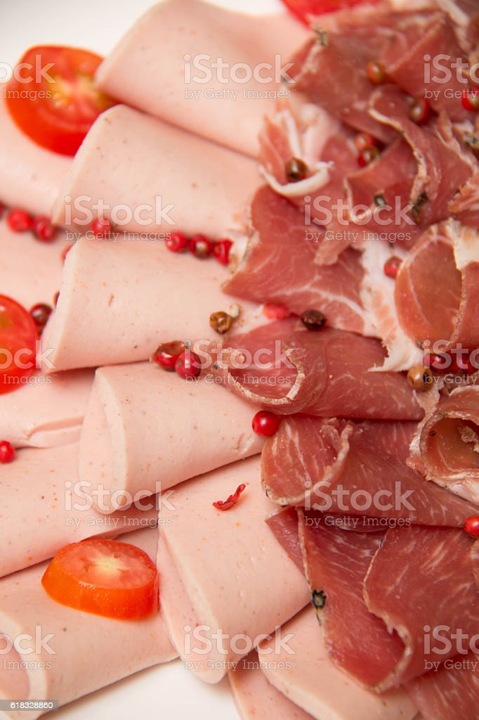mixed Meat coldcut texture closeup background stock photo