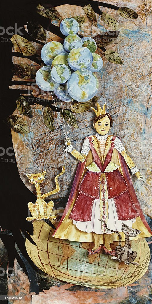 Mixed Media Collage Of A Paper Doll Holding Balloon Globes stock photo