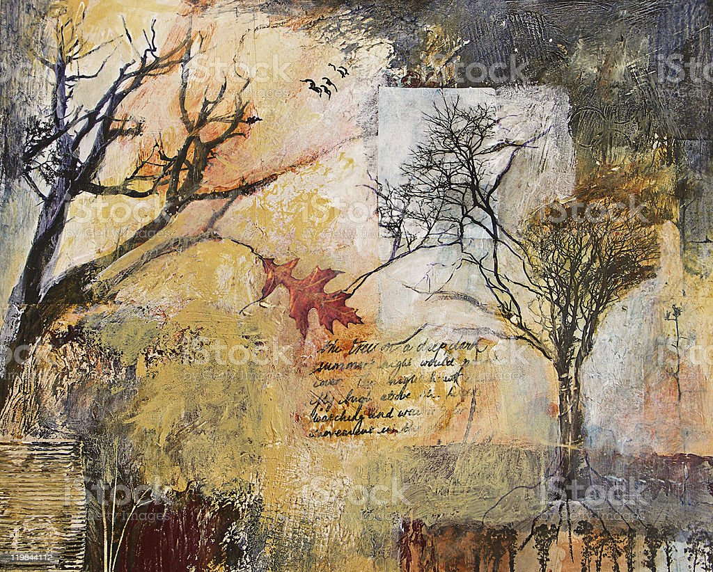 Mixed media collage painting with winter trees and oak leaf stock photo