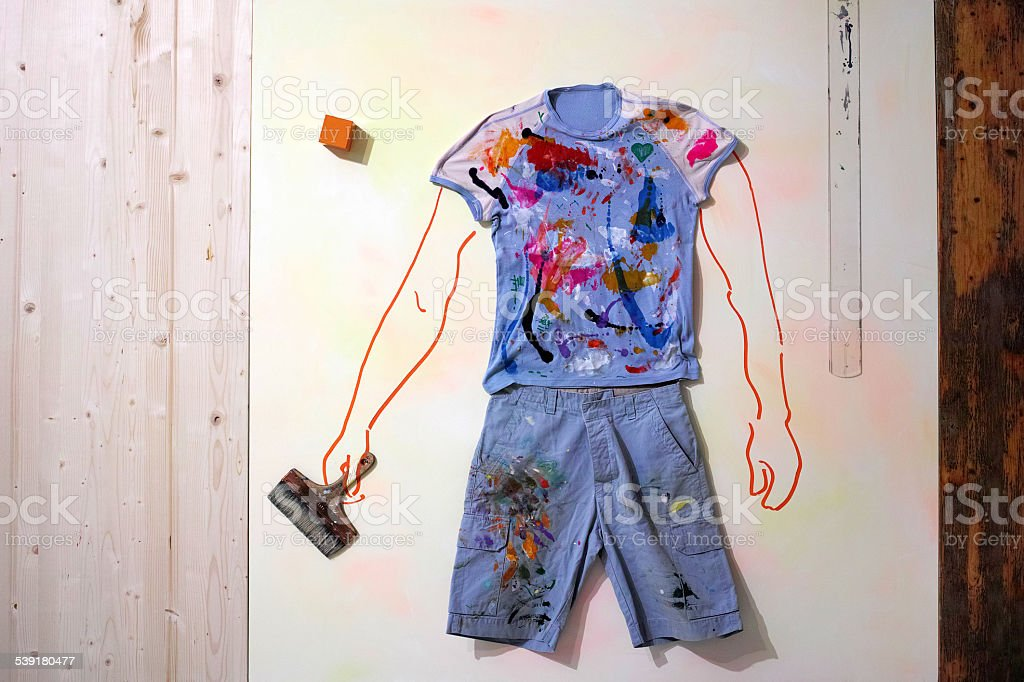 Mixed Media Figure Painted With Clothing stock photo