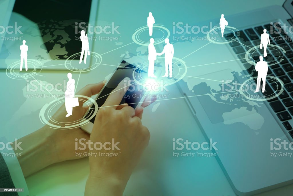 mixed media of laptop PC and communication network concept IoT(Internet of Things), ICT(Information Communication Technology), digital transformation, abstract image visual stock photo