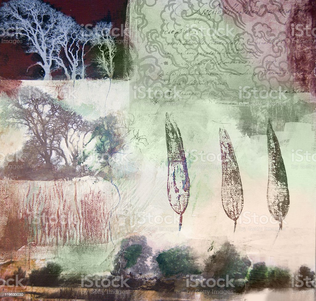 Mixed media painting of trees and leaves stock photo