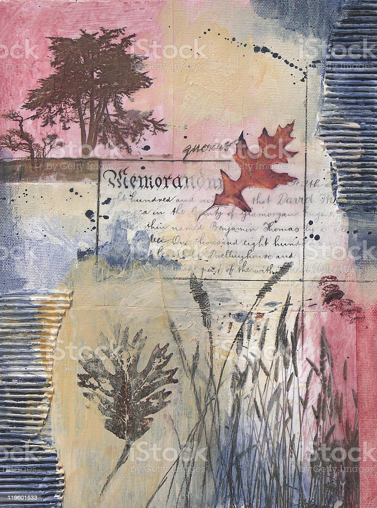Mixed media painting with tree, leaf, and grasses stock photo