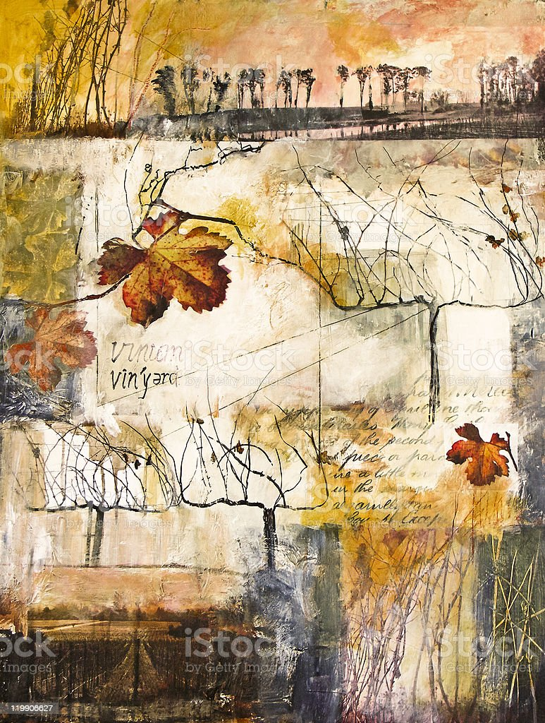 Mixed media painting with winter vines stock photo