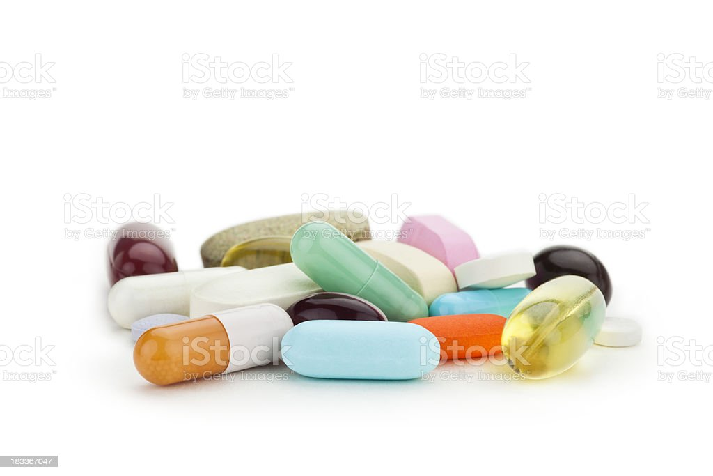 Mixed Medicine, many pills and capsules royalty-free stock photo