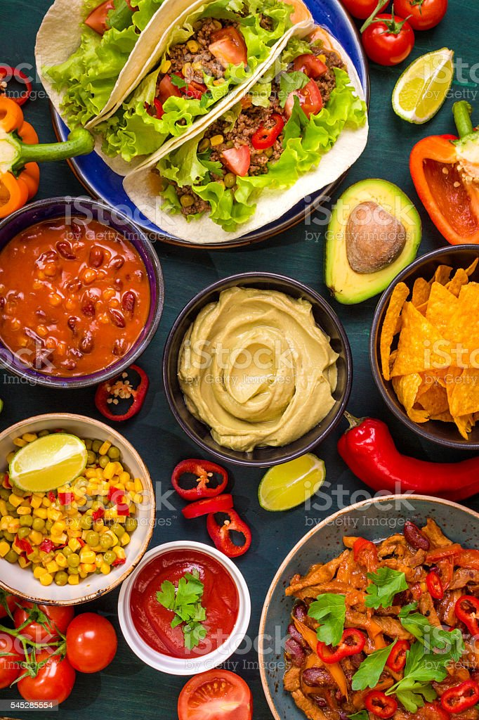 Mixed mexican food stock photo