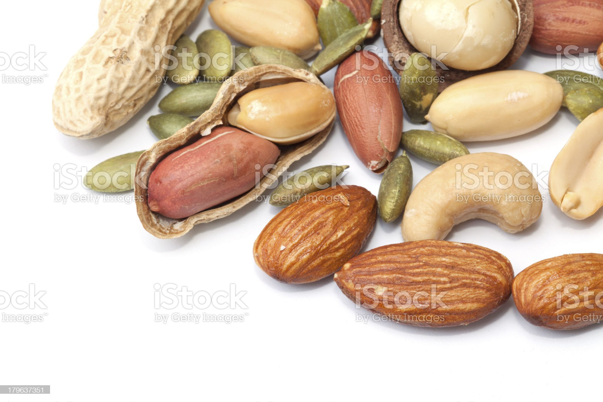 Mixed nut isolated on the white background royalty-free stock photo