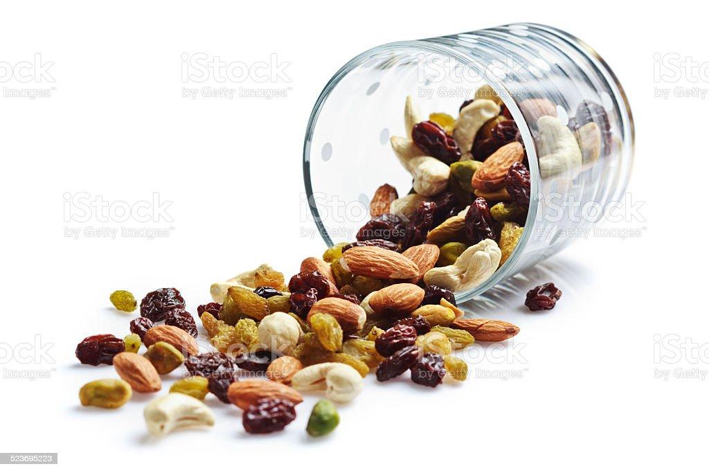 Mixed nuts and jar stock photo