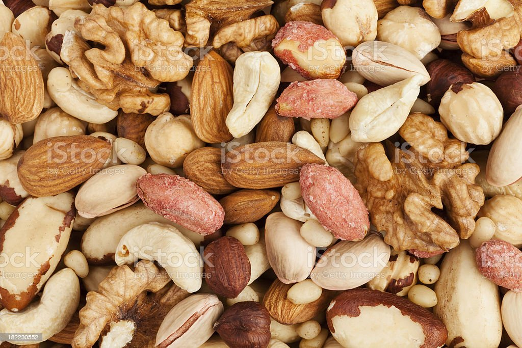 mixed nuts background stock photo