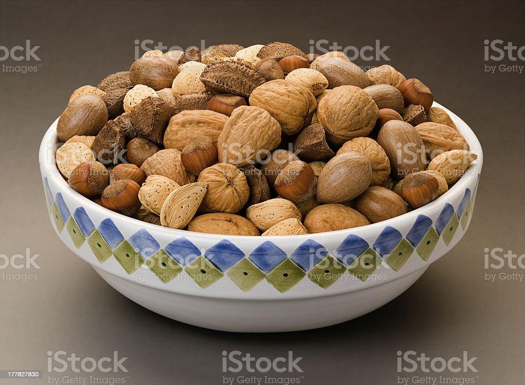 Mixed Nuts Bowl isolated royalty-free stock photo