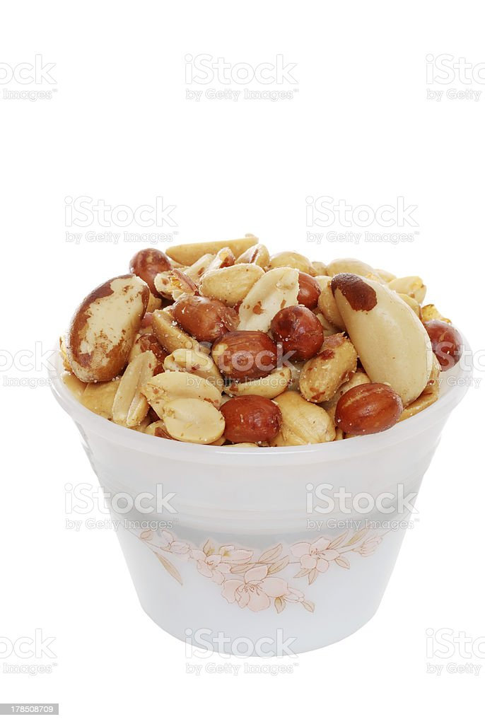 Mixed nuts in a bowl royalty-free stock photo