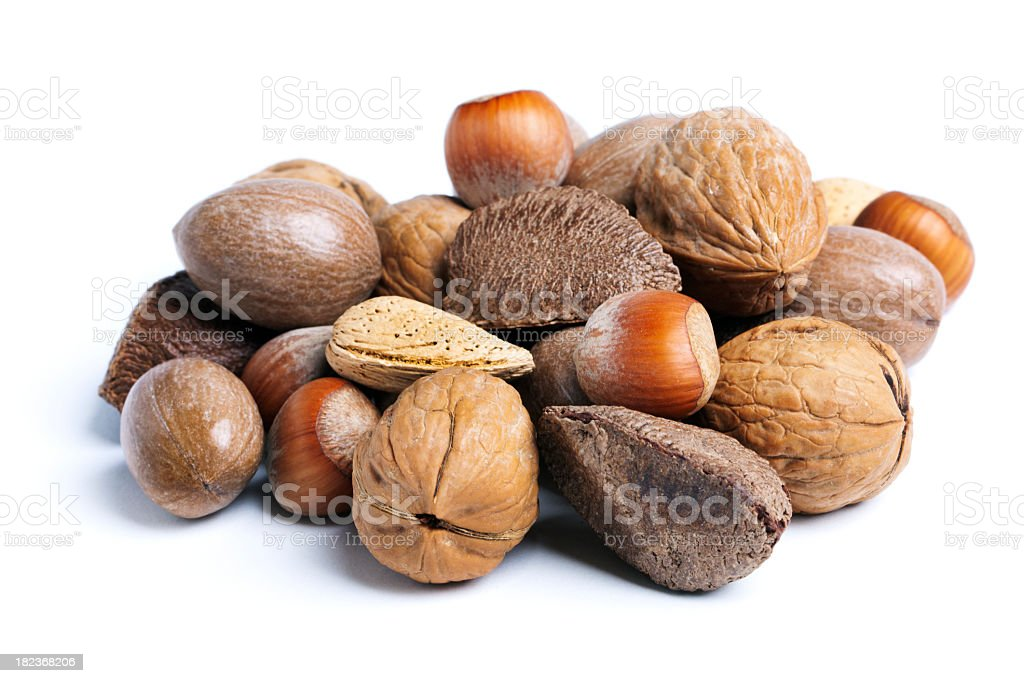 Mixed Nuts in Shells, Food Snack Variety Isolated on White stock photo