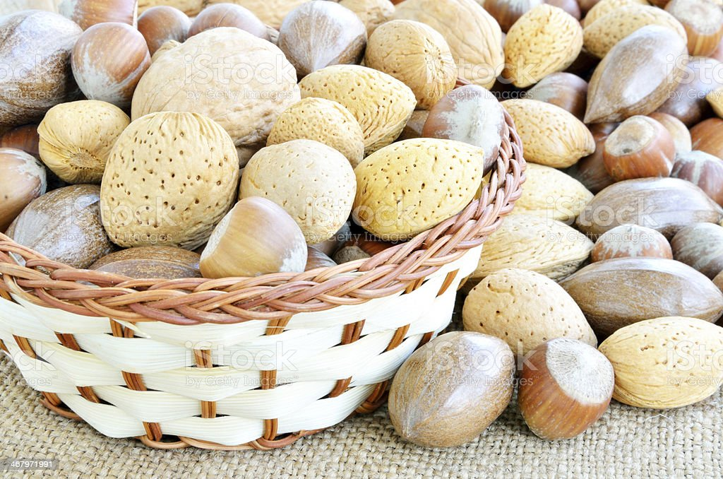 Mixed nuts in the basket stock photo