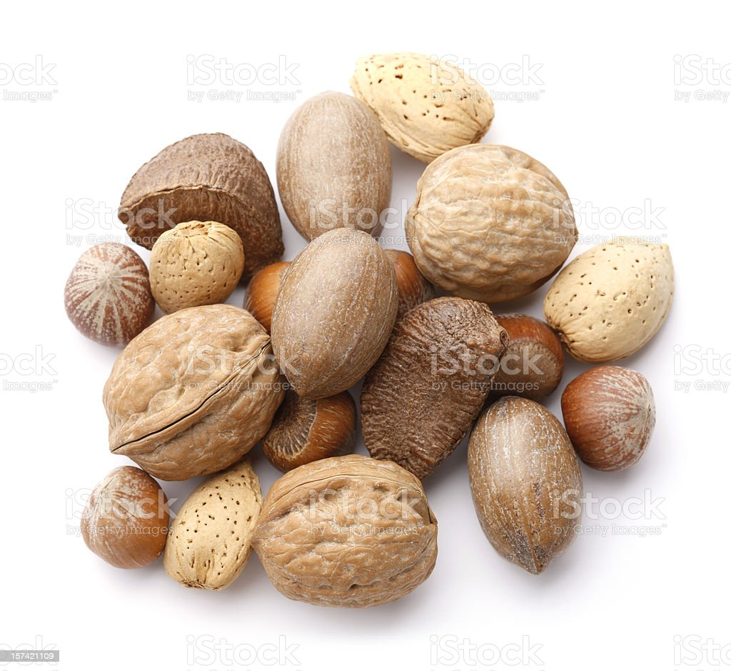 Mixed Nuts in the Shell royalty-free stock photo